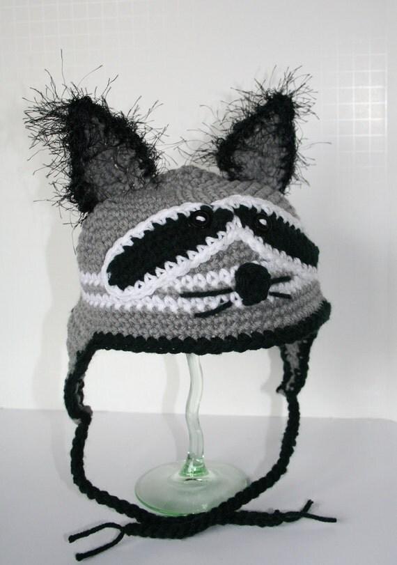 RACCOON Ear Flap Hat Crochet PATTERN      NEW Design by HipChickCrochet - Instant Download