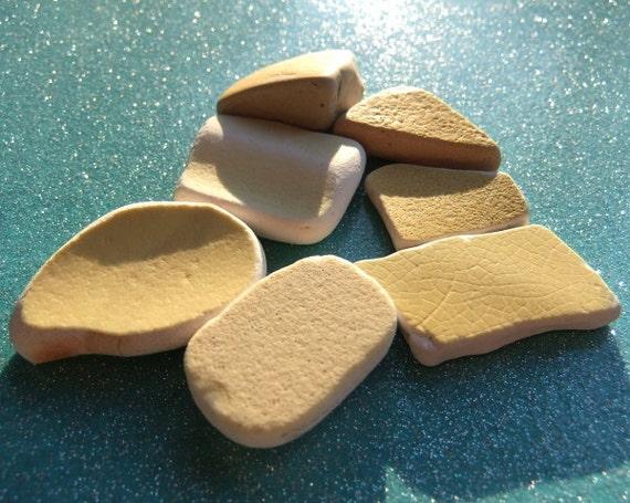 Monterey Sunshine beach sea glass pottery. yellow