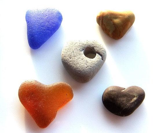 Heart of Stone. Sea glass hearts. Valentine's Day hearts. amber. cobalt blue. beach stones. beach pebbles