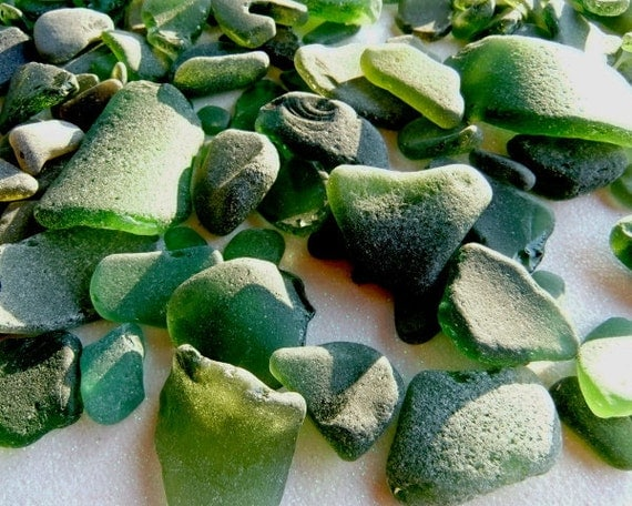 Bulk Sea glass supplies. One pound rough and smooth moss green beach glass. Mosaic tile