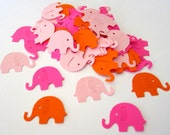 100 Elephant Hot Pink Light Pink Orange Paper Piecing Embellishments Scrapbooking Confetti Tag