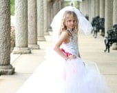 White Wedding Flower Girl  Dress Silver Damask with Detachable Bustle Train All Sizes Girls