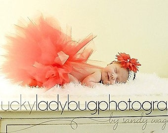 Newborn Baby Tutu in Pink, Peach and Coral with matching flower clip and headband