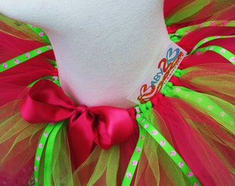 Baby Lady Bug Tutu in Hot Pink and Lime Makes Great Costume Photo Prop