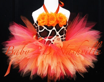 Baby Tutu Set in Safari Giraffe Orange Great for Pageant Wear and Birthdays