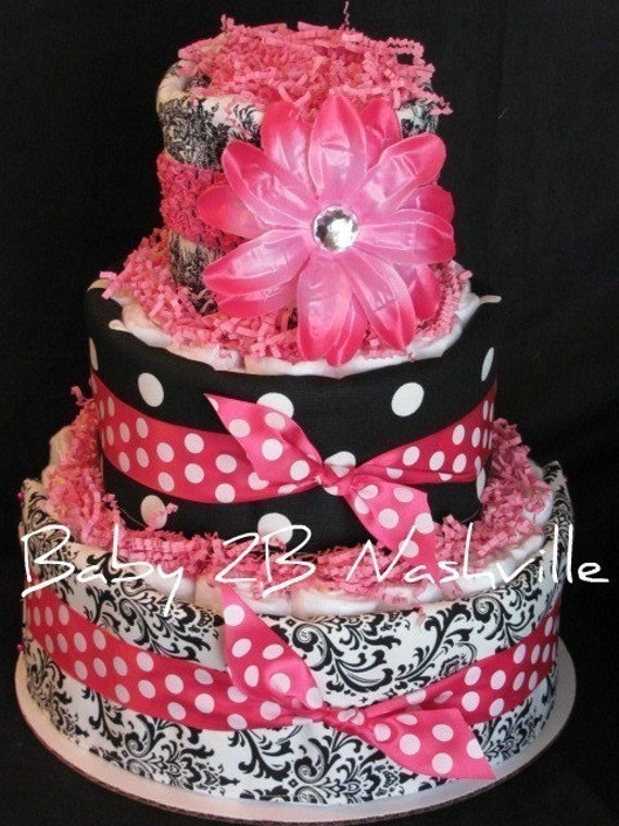 Items similar to Girls Diaper Cake in Hot Pink and Damask ...