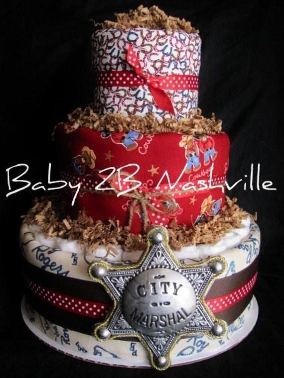 Cowboy Diaper Cake Centerpiece