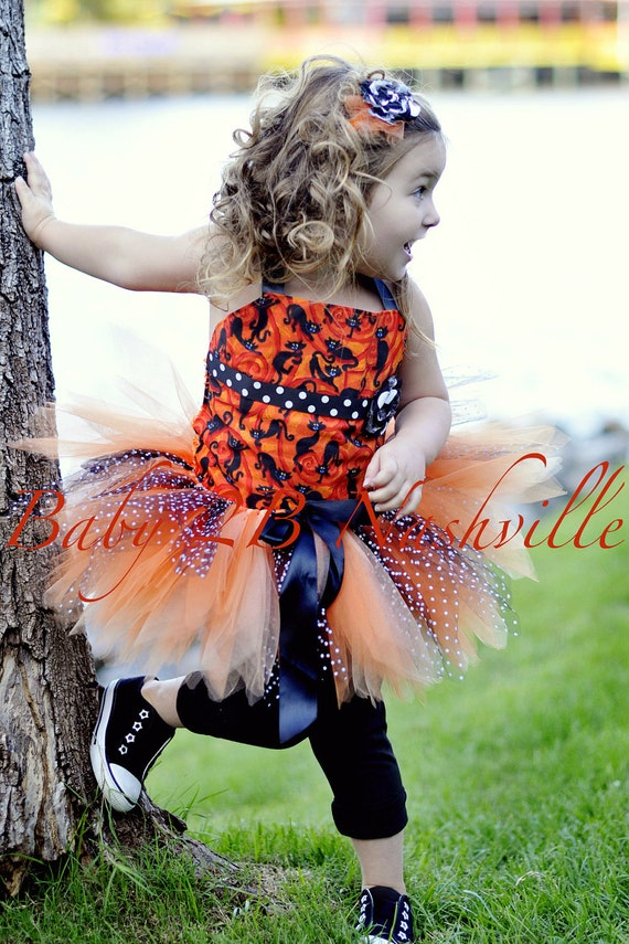 Baby Halloween Costume Orange Tutu Costume Baby Costume Cat Costume Halloween Dress Cat Costume Tutu Dress Baby Girl Costume