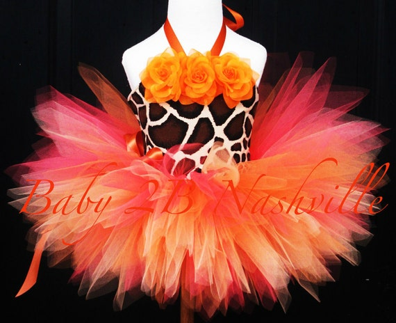 Baby Tutu Set in Safari Giraffe Orange Great for Pageant Wear and Birthdays