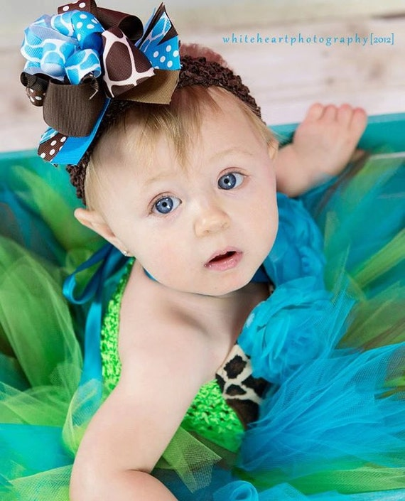 Baby Turquoise and LIme Giraffe Tutu Outfit up to 24M