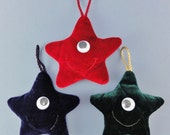 RESERVED for THOMASMOLLOY - 3 Smiley Christmas Stars - Tree decorations