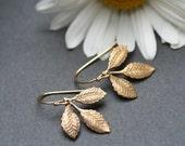 Leaf  Earrings - Golden leaf Earring - Small Branch Earrings - Woodland jewelry