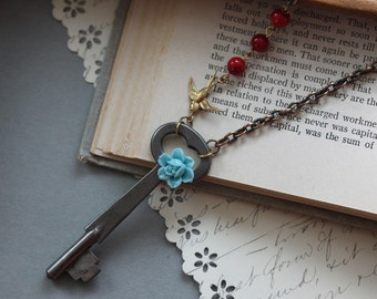 Vintage Skeleton Key Necklace -Turquoise Rose and Red Coral Key Necklace - Steampunk Jewelry