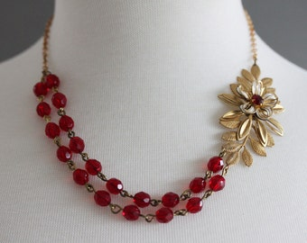 Red Beaded Necklace Double Strand Vintage Golden leaf Necklace Free Matching Earrings- One of a kind