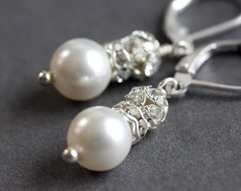 Pearl Rhinestone Earrings Pearl Bridal Earrings Wedding Earrings Bridesmaids Earrings
