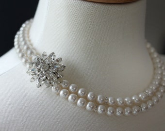 Pearl Rhinestone Necklace Wedding Necklace , Double Strand Necklace