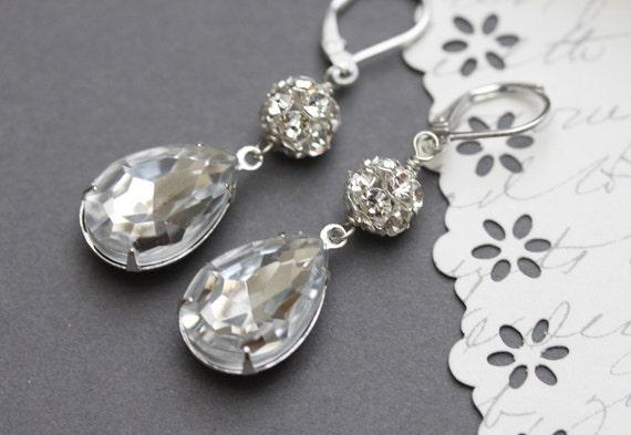 Wedding Earrings , Vintage Crystal Rhinestone Earrings, Drop Earrings