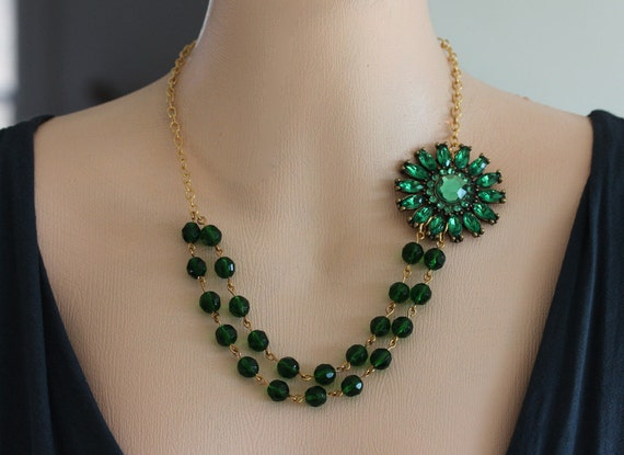 Emerald Green Necklace, FREE Matching Earrings  Flower Necklace Crystal Jewelry Bridesmaids