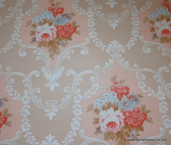 1940's Vintage Wallpaper Cabbage Rose Floral So Pretty