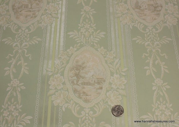 1940's Vintage Wallpaper  Pale green and white Victorian pattern