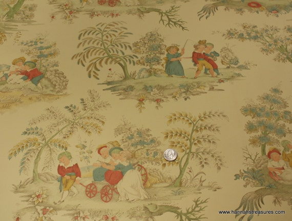 1940's Vintage Wallpaper - Birge Folk Art Scenic Wallpaper of Old World Storybook Images with Children