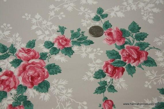 1940's Vintage Wallpaper clusters of Roses