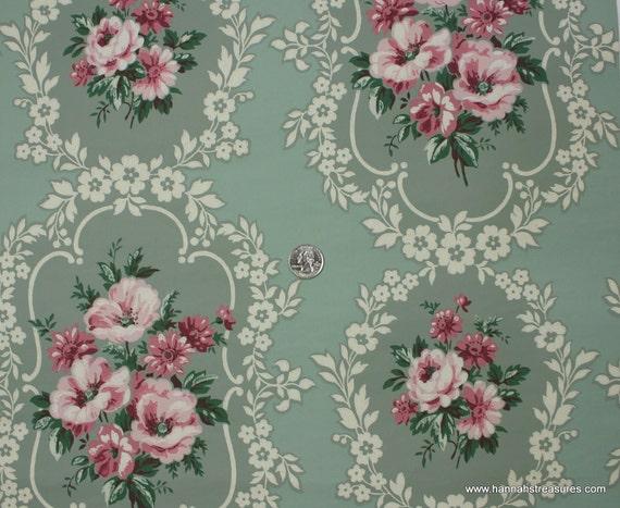 1940's Vintage Wallpaper pink floral on green background
