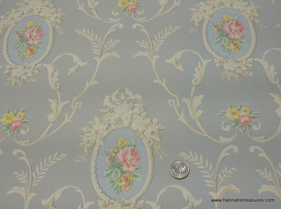 1930's Vintage Wallpaper pale pink roses in cameo on a light blue background