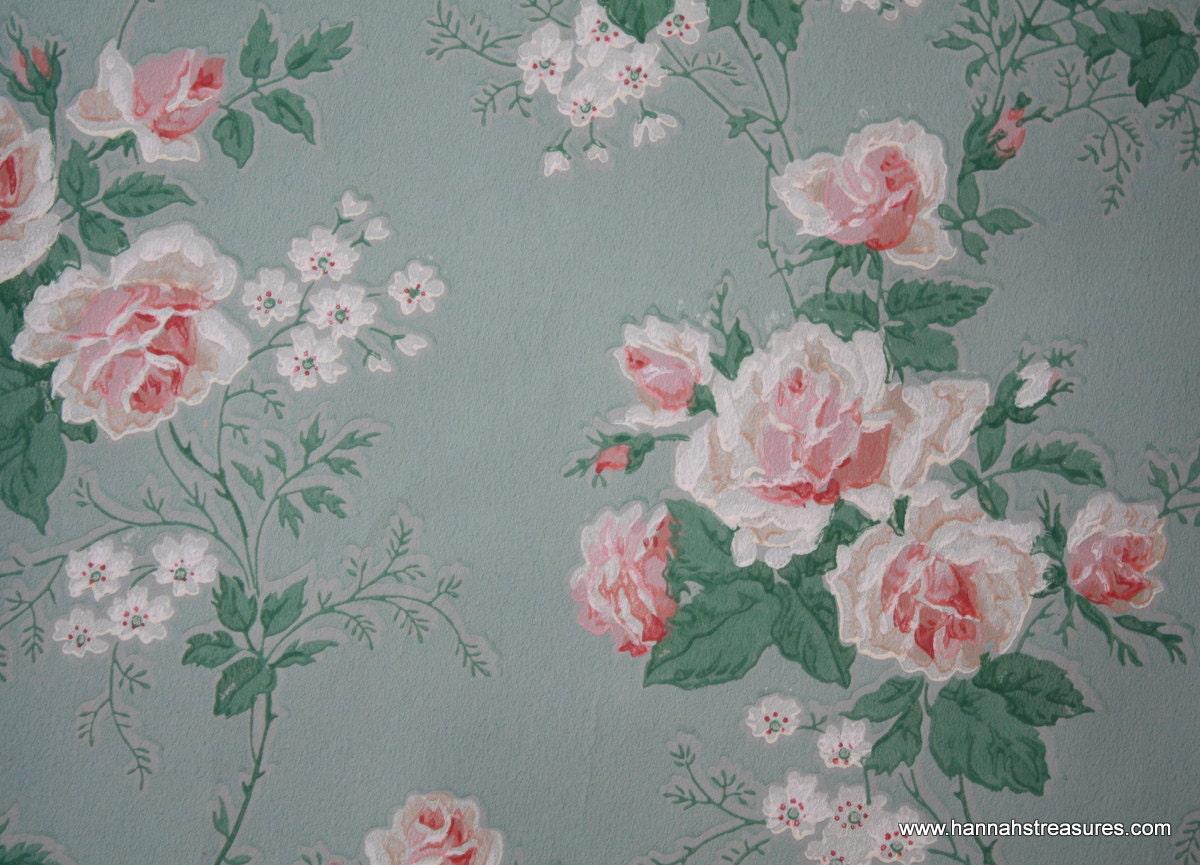 1940's Vintage Wallpaper Beautiful pink Roses by HannahsTreasures