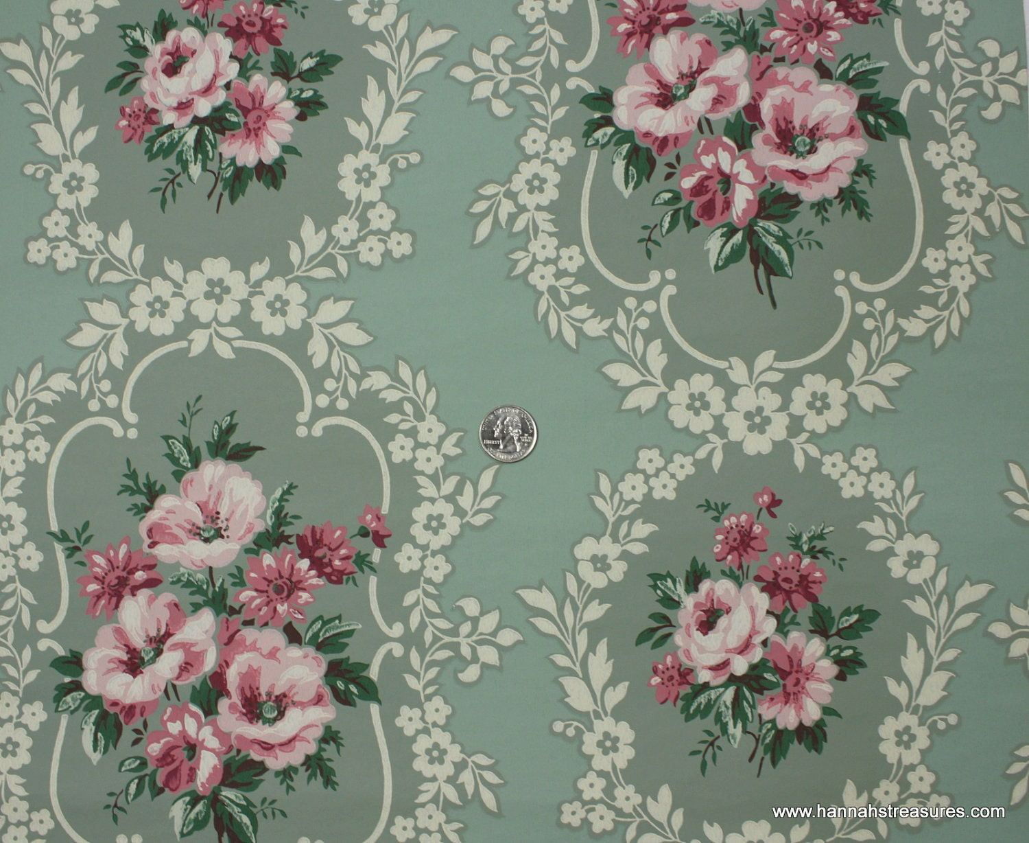 1940's Vintage Wallpaper Pink Floral On Green Background