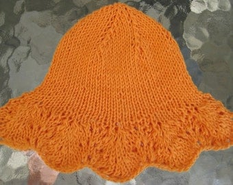 Handknit Baby Sunhat - Cotton with Lace Edging II