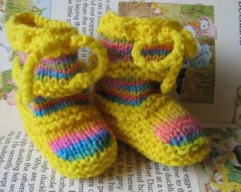 Handknit Baby Booties - Yellow JellyBeans