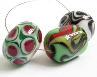 Three Handmade Lampwork Glass Beads