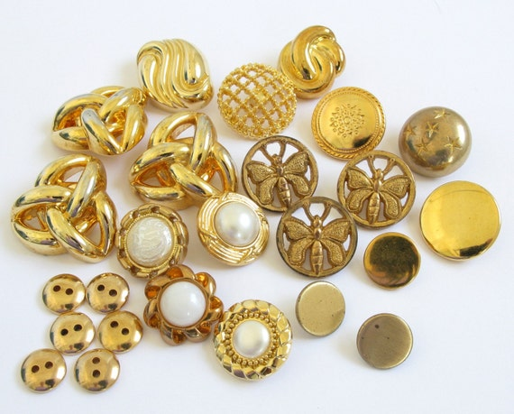 Vintage Button Mixed Goldtone Lot