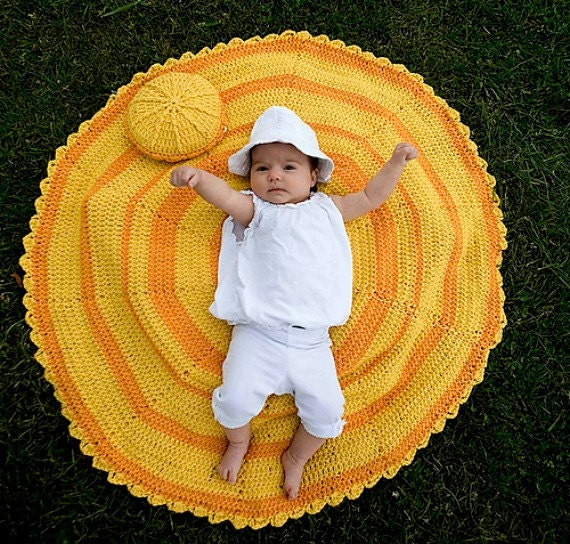 Crochet PDF Pattern - Sunshine of Your Love Baby Blanket and Pillow Set