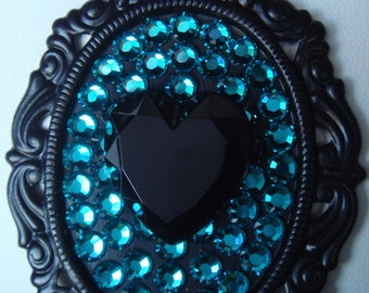Black and Turquoise Swarovski Rhinestone Heart Necklace