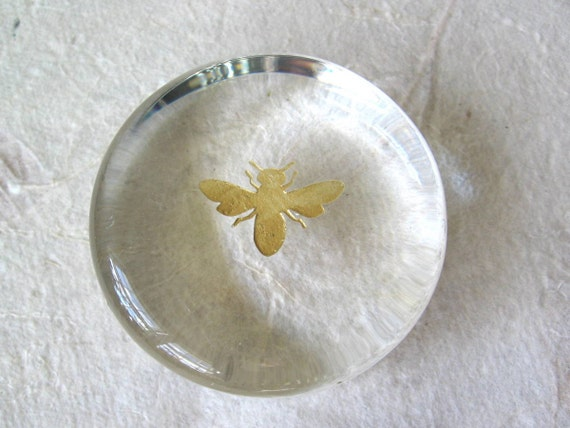 Glass Honey Bee Paperweight on Vintage Glass
