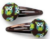 Owl -- fabric button hair accessories -- snap clips or ponytail holders in a gift bag
