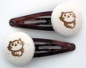 Kawaii Kitty -- hand-stamped button hair clips or hair ties in custom colors with a gift bag