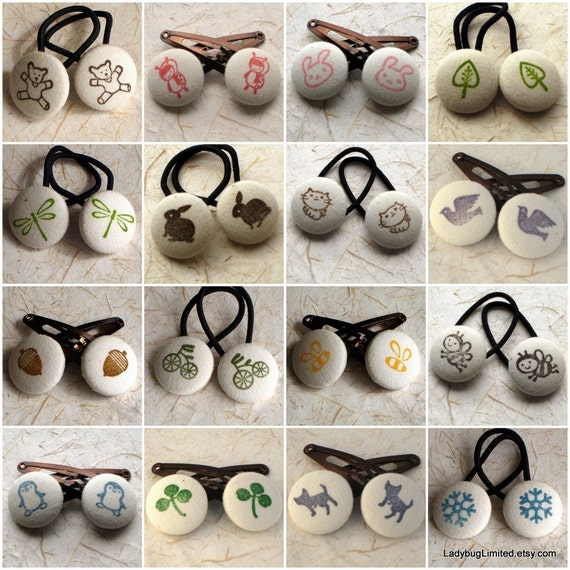 WHOLESALE or BULK order -- 20 sets of fabric button hair clips or ponytail holders-- WITH gift bags