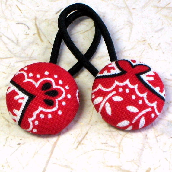 Red Bandana -- fabric covered button ponytail holders or snap clips for your hair