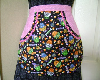 Ladies Cupcakes and Treats Halloween Half Apron with a twist of Pink