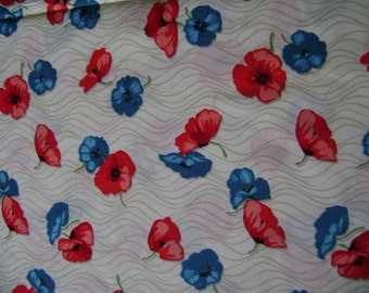 Fabric   Red and Blue Pansies Cotton Fabric - 2 Yards