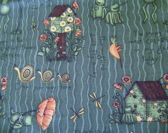Hunter Green Fabric with Hummingbirds and Birdhouse 1 Yard and 32""