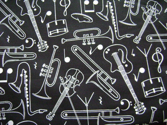 Musical Instruments Black and White Fabric - 1 Yard