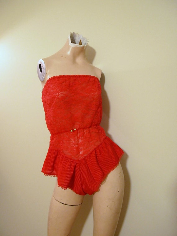 Vintage All In One Onezie Camisole Teddy Panty Nylon and Floral Lace Cherry Red 70s 80s