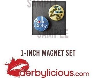 Retro Roller Derby Magnets (Set of 2, 1 Inch)