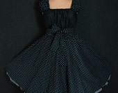 40s 50s RockaBilly swinG Polka Dots DresS Pin Up 8 10 12 Black and Turquoise