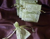 10 Moss Green Organza Bags 3 x 4 drawstring jewelry pouches