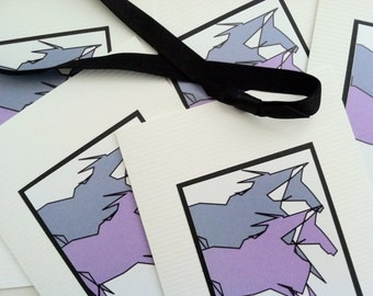 Lavender Blue Abstract Horses Note Set